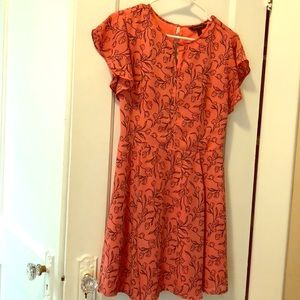 Floral salmon and navy dress